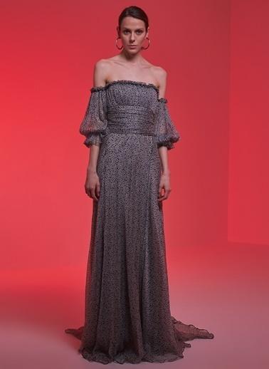 Museum Of Fine Clothing Kayık Yaka Uzun Abiye Elbise Gri